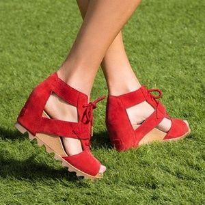 Sorel Joanie Lace Suede Casual Bootie Sandals